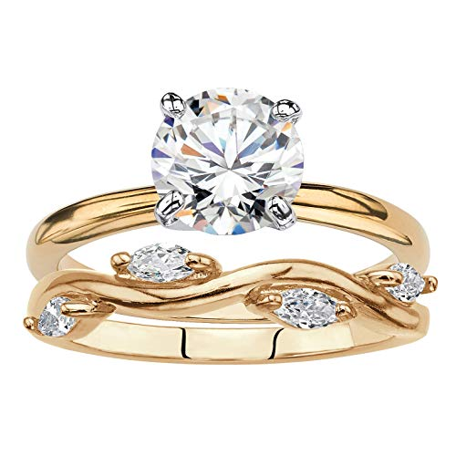 Palm Beach Jewelry 18K Gold-Plated Round Cubic Zirconia Solitaire and Marquise Vine Wedding Ring Set Size 8 ()