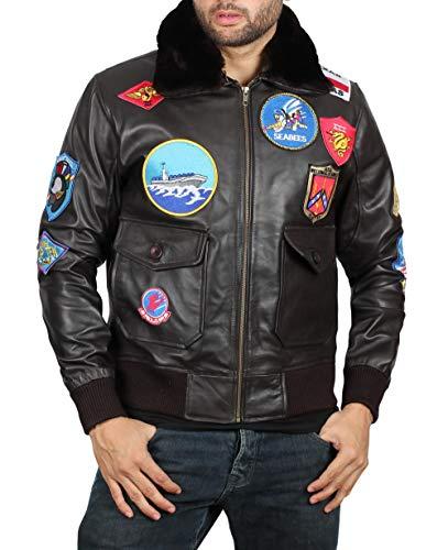 Shearling Collar Brown Leather Jacket Men - Genuine Lambskin Mens Leather Jacket | Top Gun Shearling Collar Brown, XS