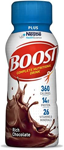 Boost Plus Complete Nutritional Drink, Rich Chocolate, 8 fl oz Bottle, 24 Pack (Packaging May Vary)