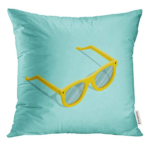 4fc90b5e8e UPOOS Throw Pillow Cover Glasses of Yellow Isometric Hipster Sunglasses in  Cartoon Style The Sun Flat