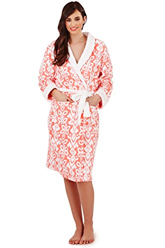 loungeable da donna, elegante pile Super morbido VESTAGLIA Coral Classic