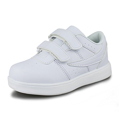 Hawkwell Kids School Uniform Sport Shoes(Toddler/Little Kid),White PU,10.5 M ()