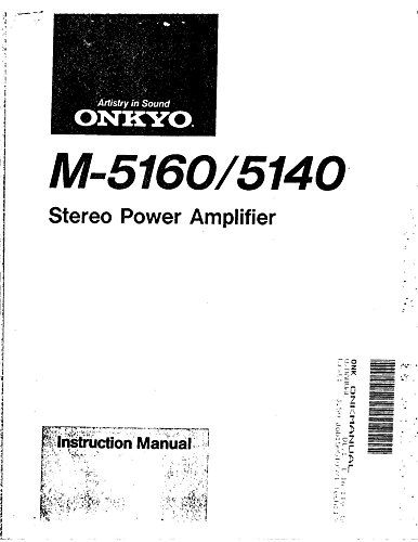 Price comparison product image Onkyo M-5160 Amplifier Owners Manual [Plastic Comb] [Jan 01,  1900] Misc