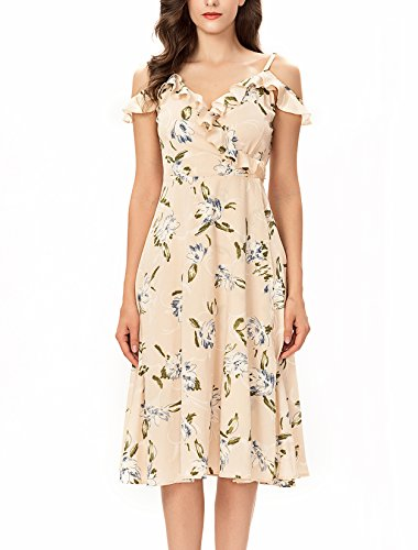 Noctflos Women's Summer Floral Cold Shoulder Midi Dress for Casual Cocktail Wedding -