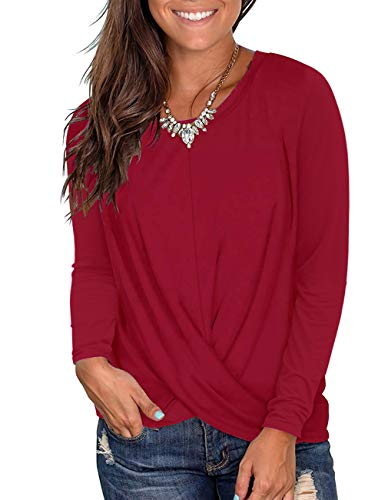 Kimiee Women's Casual Long Sleeve Tunic Tops Crew Neck Front Twist T Shirts (z3 Wine Red, S) (Best Boxing Day Deals 2019)