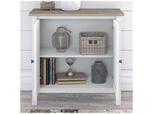 Bush Furniture Mayfield Storage Cabinet with Doors in Shiplap Gray/White - Engineered Wood
