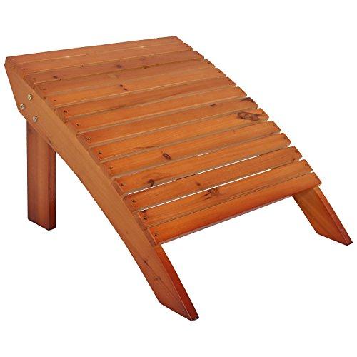 Style Adirondack Footrest (Sunnydaze Wooden Outdoor Adirondack Ottoman Footrest, Brown)