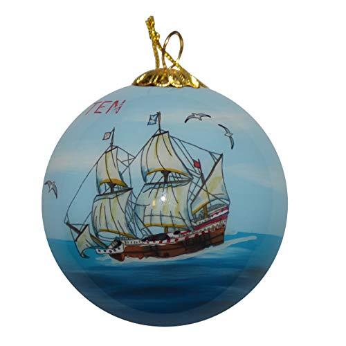 - Art Studio Company Hand Painted Glass Christmas Ornament - Sailing Ship St. Maarten