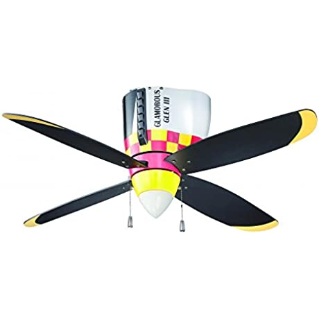 Craftmade WB448GG4 WarPlanes Ceiling Fan With Blades And Cased White Glass 48 Glamorous Glen