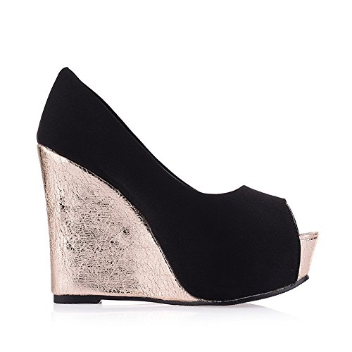 pumps Heels balamasa enfiler Bout Ouvert shoes Massif Femme Noir High à x801q8Znw
