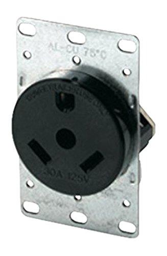 Eaton 1263-BOX 30-Amp 2-Pole 3-Wire 125-Volts Heavy Duty Grade Flush Mount Power Receptacle, Brown