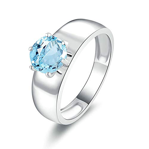 Adisaer-Cubic Zirconia Anniversary Wedding Ring 925 Sterling Silver Plated LW 7X7Mm 6 Claw Round Blue Topaz Ring Size - 4 Ct Blue 14k Topaz White Ring Gold