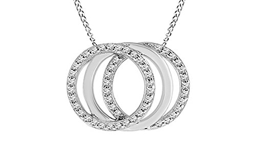 Multi Pendant Diamond Circle - Jewel Zone US White Natural Diamond Multi Circle Pendant Necklace in 14k White Gold Over Sterling Silver (0.25 Ct)