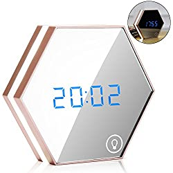 EnGive Multi-function Mirror Alarm Clock Rechargeable Portable Smart Led Digital with Time/Alarm/Temperature Display Desk or Room Decoration Travel Alarm Clock (Rose Gold)