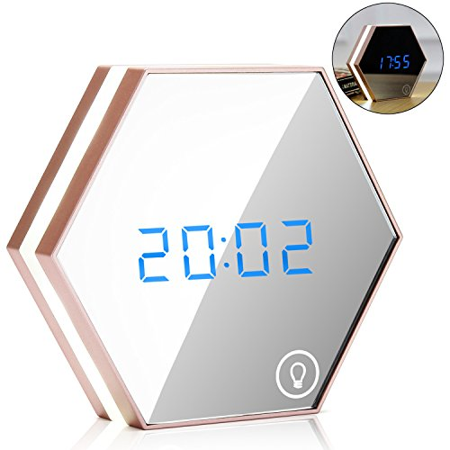 Rose Display Clock - EnGive Multi-function Mirror Alarm Clock Rechargeable Portable Smart Led Digital with Time/Alarm/Temperature Display Desk or Room Decoration Travel Alarm Clock (Rose Gold)