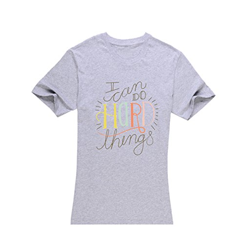 Women's Grey Short-Sleeved, I can do Hard Things T-Shirt - xincun(L) (I Can Do Hard Things compare prices)