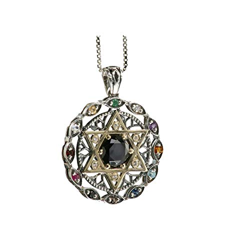 - Baltinester Jewish Jewelry Sterling Silver and 9k Gold Star of David with Black Onyx 12 Stone Hoshen Round Pendant Evil Eye Ornate Design Necklace with Silver Chain