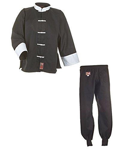 Traje de Kung Fu, Tai Chi, Wu Shu 9502, negro/blanco, algodón, talla 110-200.