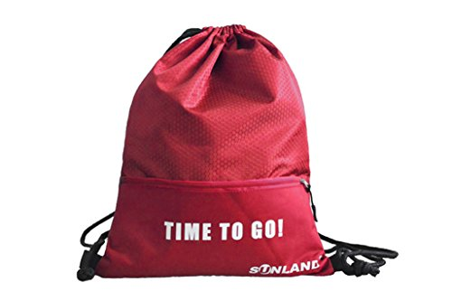 SUNLAND Sports Gym Sack Drawstring Backpack Bag Gymsack Sackpack For Sport Traveling Basketball Yoga Running(17inch x 13inch Red) Review