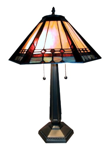 Warehouse of Tiffany's 1803 Mission Style Table Lamp, 18'' x 18'' x 25'', Brown by Warehouse of Tiffany's