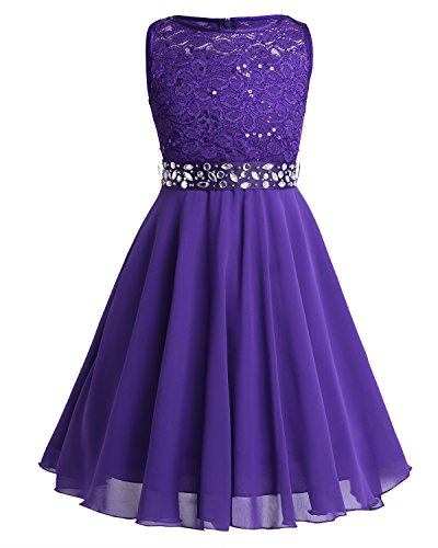 FEESHOW Kids Girls Sequin Lace Wedding Pageant Party Formal Communion Gown Flower Girl Dress Crystal Belt Purple 10