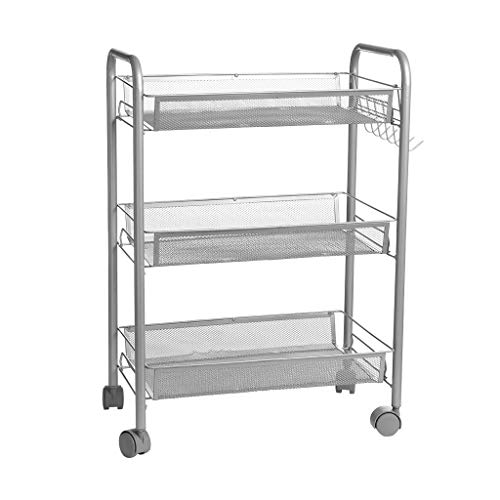 Fewear Ship from USA,3-Shelf Shelving Storage Unit Rolling Cart on Wheels with Baskets, Metal Organizer Wire Rack, Utility Trolley with Handles for Kitchen Bathroom Closet - Unit Tray