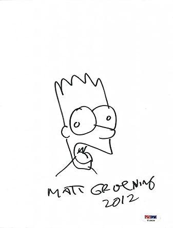 Matt Groening Authentic Signed 9x12 Hand Drawn Bart Simpson Sketch