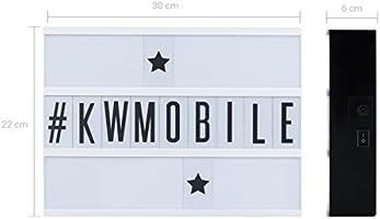 kwmobile Caja de luz LED A4 - Cartel de cine luminoso con 210 números letras e iconos - Fuente de alimentación incluida - Panel cinematográfico