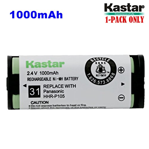 Kastar HHR-P105 Battery (1-Pack), Type 31, NI-MH Rechargeable Cordless Telephone Battery 2.4V 1000mAh, Replacement for Panasonic HHRP105 HHR-P105 HHRP105A HHR-P105A KX242 KX-242 KX2420 KX-2420 KX2421 KX-2421 KX2422 KX-2422 KXTG5779 KX-TG5779 Dantona BATT105 BATT-105 Empire CPH508 CPH-508 GE 86420 Lenmar CB0105 CB-0105 Avaya 3920 Interstate ATEL0014, TEL0014, TEL-0014 3920 Wireless Telephone