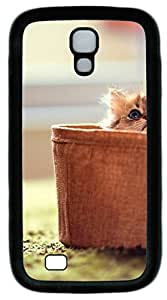 samsung galaxy s4 case,custom samsung galaxy s4 i9500 case,TPU Material,Drop Protection,Shock Absorbent,Customize your own cell phone case pattern,black case,The cat in the basket