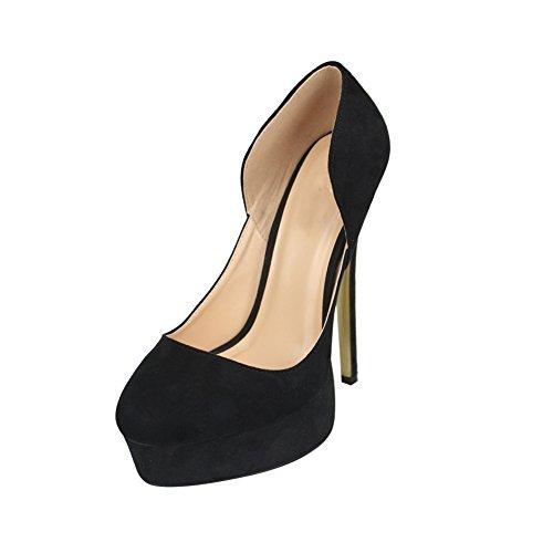 fereshte Men's Women's Crossdresser Drag Queen Closed Toe Slip On Platform Stiletto High Heels Party Pumps Black