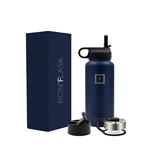Iron Flask - 32 Oz, 3 Lids, Vacuum Insulated Stainless Steel Water Bottle, Hot & Cold, Wide Mouth, Nalgene, Double Walled, Simple Flow Thermo Modern Travel Mug, Hydro Canteen Powder Coated, Blue