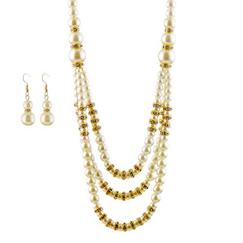 Merdia Stunning Glass Faux Pearl Necklace and Dangle Hook Earrings Set for Wedding by Merdia