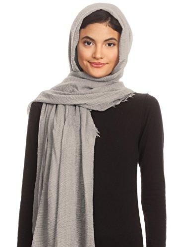 Abeelah Cotton Crinkle Hijab Scarf- Muslim, Indian, African Fashion Compatible (Light Grey) by Abeelah