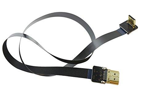 BLACK 50CM FPV Flat Slim HDMI Cable Mini HDMI 90 degree angle to Standard HDMI full size HDMI Normal HDMI for Canon 5D3 5D2 Panasonic lumix GH3 GH2 Sony nex 5N 5T 5R 7N 90degree DJI