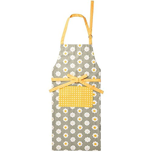 KitchenCraft Retro-Flower Apron, Cotton, Yellow/Grey, 16 x 12 x 9 cm