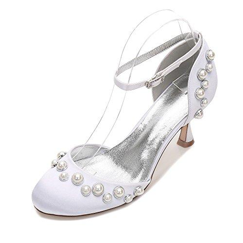 38 Matrimonio Partito Duoai Scarpe Per Scarpe Scarpe Pearl High Alta Heeled Moda manualmente Matrimonio Fascia Scarpe Personalizzare Bianco Cena Testa HCv7wC