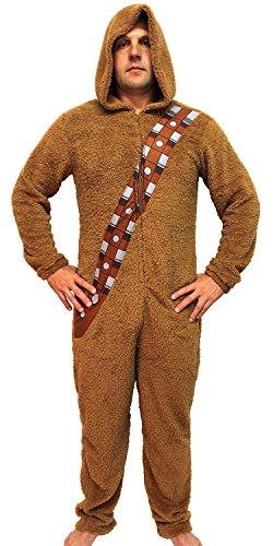 Star Wars Chewbacca Wookiee Adult Hooded Costume Union Suit (Large) Brown