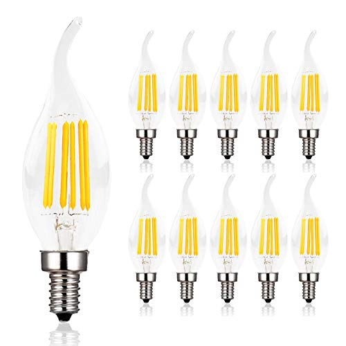 Dimmable Candelabra LED Bulb,60W Equivalent E12 Base LED Candle Bulbs, C35 Flame Shape Bent Tip,E12 LED Bulb,6w LED Light Bulb,B11 LED Chandelier Bulbs,2700K Warm White, Clear Glass Cover,10 Pack ()