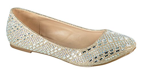 Flats Ballet Sexy - Baba-58 Women's Crystal Embellished Almond Toe Slip-On Ballet Dress Flat Nude 8.5