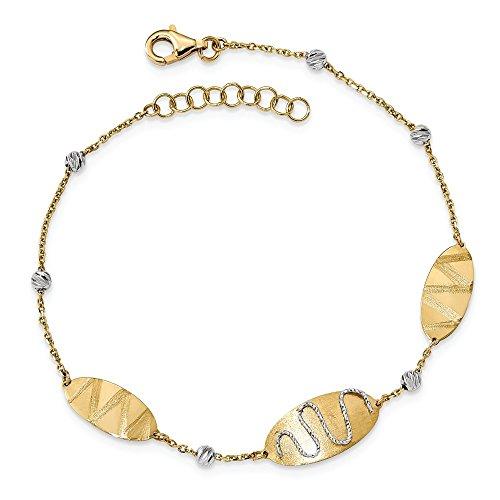 Roy Rose Jewelry 14k Two Tone Gold Satin & Polished Diamond-cut Beads & Ovals Bracelet ~ length: 8 - 946 Oval