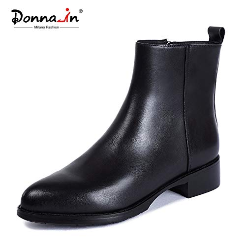 Chrysanemu Light Black Ankle Boots Genuine Leather Shoes Women Boots Autumn Winter 2019 Pointed Toe Shoes Women Heel Fur