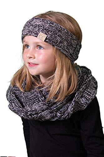 K1-HWK-816.21 Kids Beanie & Scarf Bundle (HEADWRAP): Grey/Black - Snowboarding Onesie