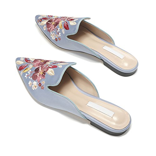 Mule Slip Slippers Velvet Loafers Satin Blue for Loafers Embroidery Backless Women Loafers Mavirs On Womens w7PTx06q