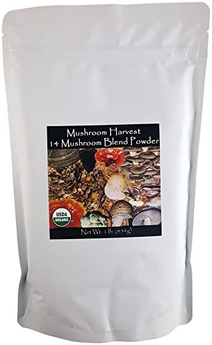 14 Mushroom Blend Powder Certified Organic 1lb. Bulk