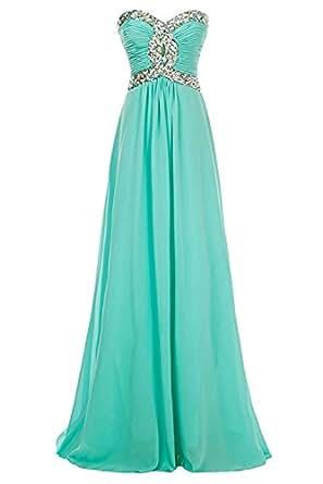 MILANO BRIDE Women Prom Party Dress Floor-Length Strapless Chiffon Bridesmaid Gown-2-Aqua