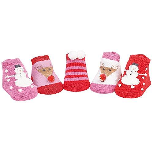 Country Kids Baby Girls' Snowman Reindeer Christmas Holiday Socks, 5 Pair Gift Set, Fits Newborn up to 3 (Snowman Country Christmas Boxes)