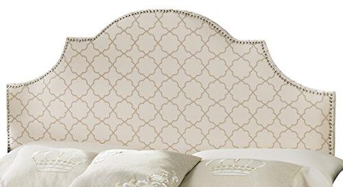 Safavieh Hallmar Pale Pink/ Beige Upholstered Arched Headboard - Silver Nailhead (King) by Safavieh