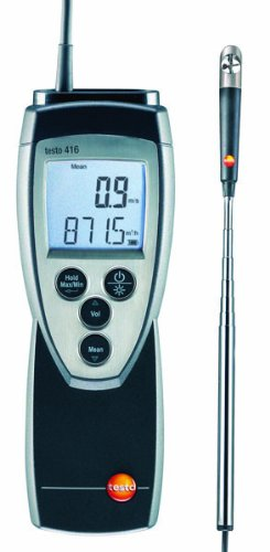 "Testo 416 Digital Mini Vane Anemometer, 0.63"" Head Diameter, 0.6 to 40 m/s Range, 0 to 60° C Temperature"
