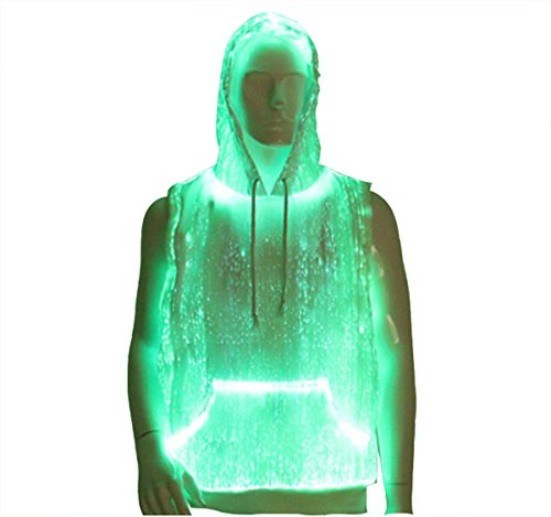 newest Mens EDM Rave Festival costumes Light Up LED Clothing Cool Hoodie Burning Man Clothing material color white , RGB lights (L)